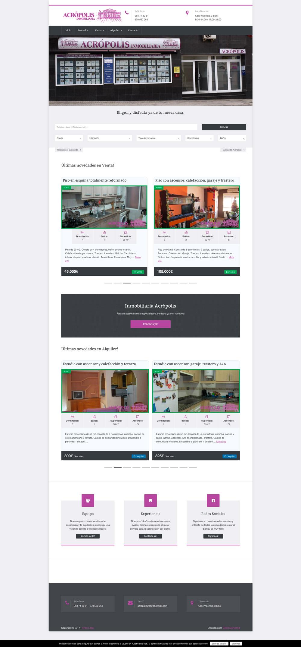 diseño pagina web inmobiliaria