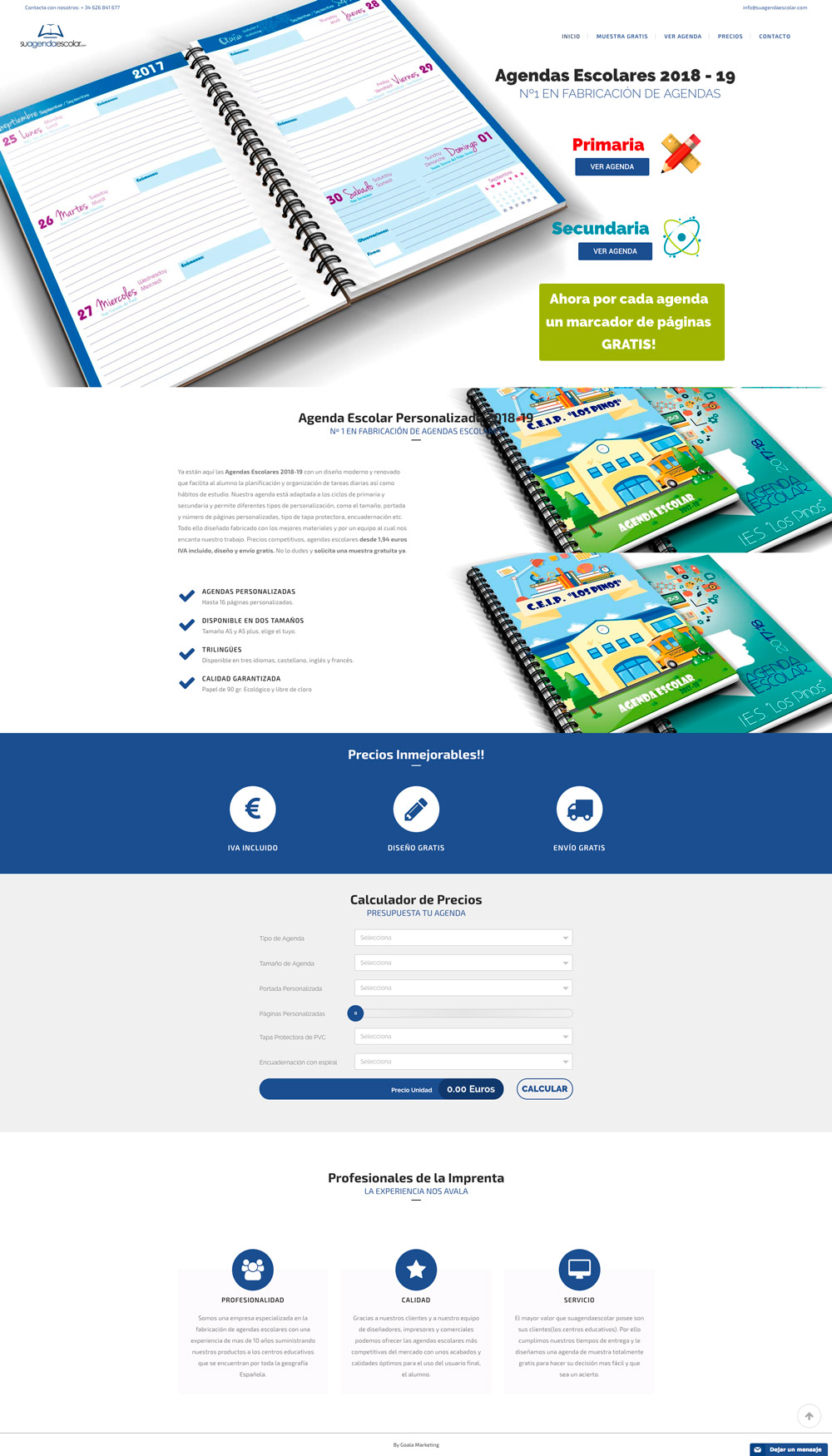 diseño web agendas escolares 2018