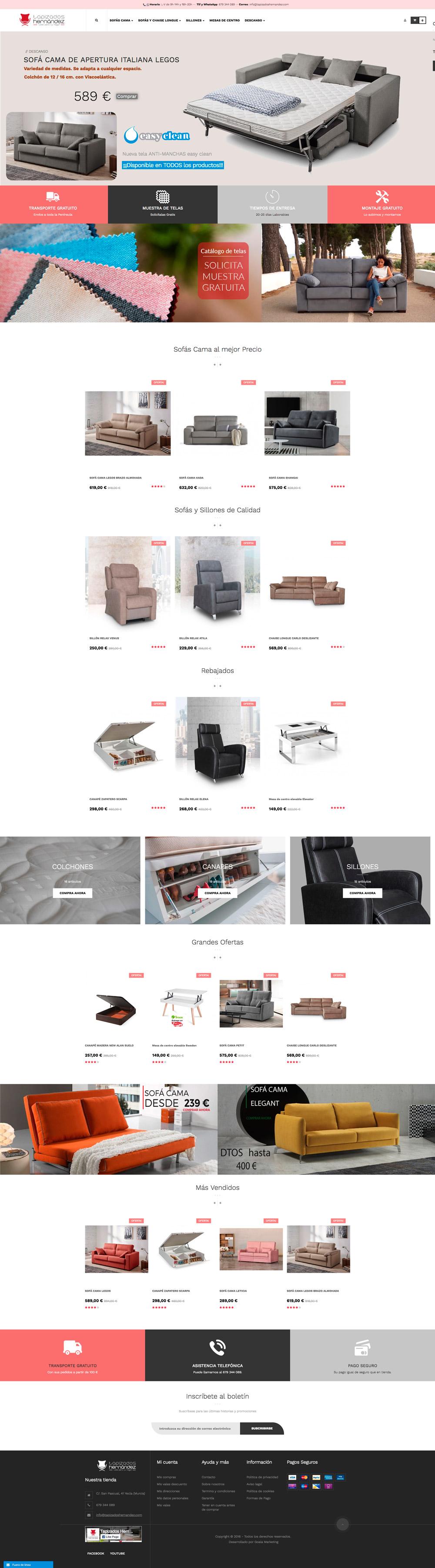 diseño de tiendas online. Tapizados Hernández