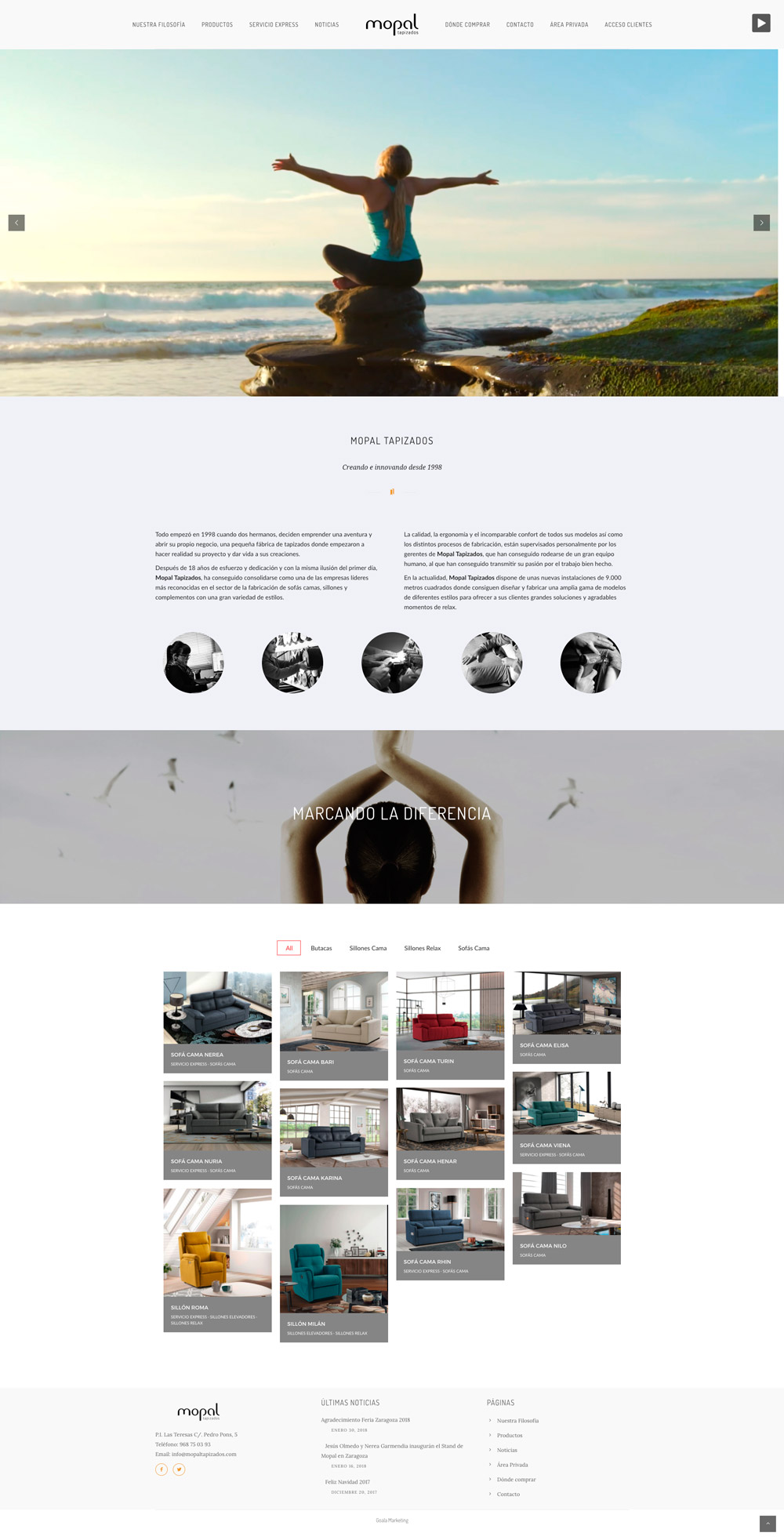 Diseño web Mopal Tapizados. Yecla