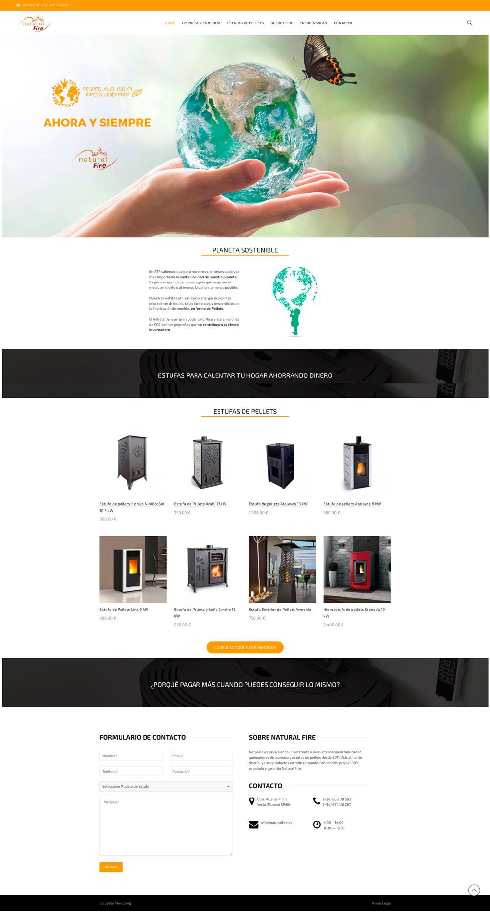 Yecla, diseño web estufas de pellets