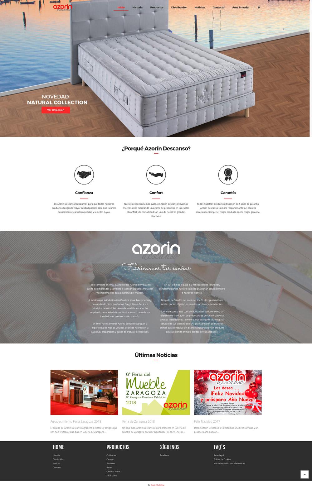 Diseño web colchones Azorín Descanso