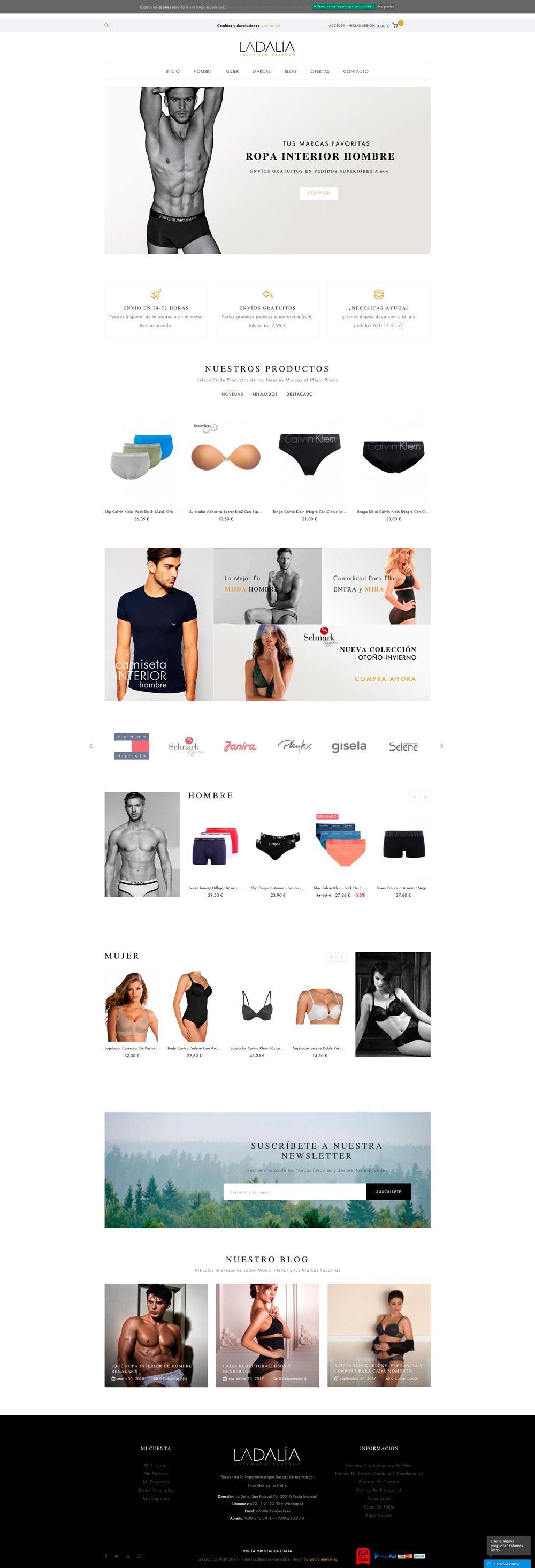 Diseño Tienda Online ropa interior La Dalia yecla