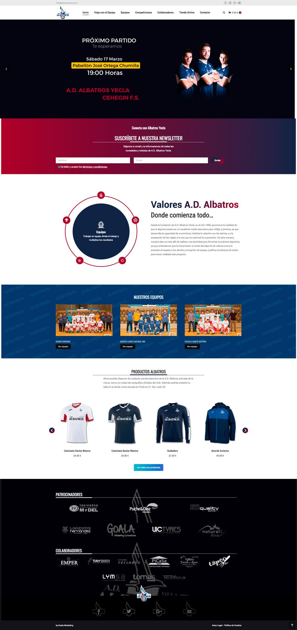 Diseño web de Albatros yecla