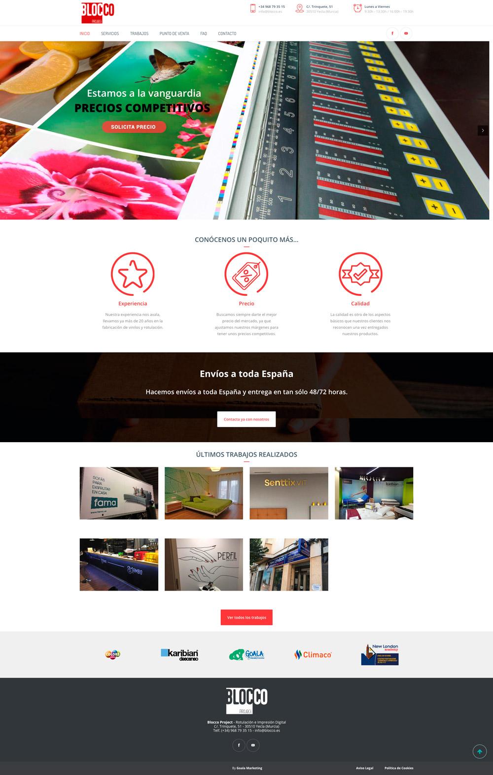 Diseño web imprenta Blocco